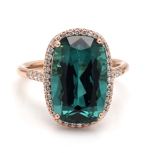 8.05ct Oval Cut Blue-Green Tourmaline Ring