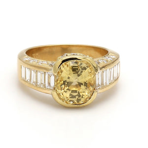 4.02ct Oval Cut Yellow Sapphire Ring