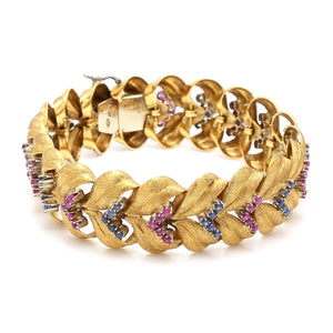 3.00ctw Round Brilliant Cut Sapphire and Ruby Bracelet