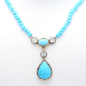 2.00ctw Old Mine Cut Diamond and Turquoise Necklace