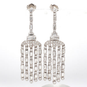 SOLD - 4.00ctw Baguette and Round Brilliant Cut Diamond Earrings
