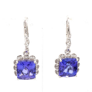 10.00ctw Cushion Cut Tanzanite Earrings