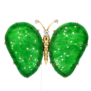 SOLD - Carved Jade Butterfly Brooch