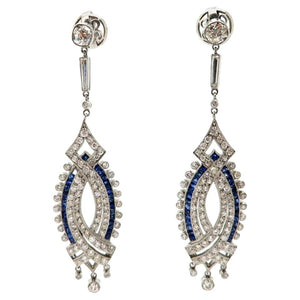 SOLD - 2.72ctw Old European and Baguette Cut Diamond Earrings