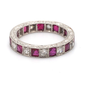 0.85ctw Ruby and Old European Cut Diamond Band