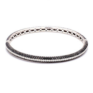 9.97ctw Black and White, Pave Diamond Bracelet