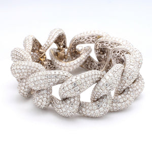 68.09ctw Round Brilliant Cut Diamond Pave Link Bracelet