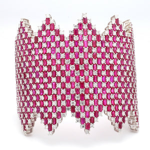 47.16ctw Ruby and Diamond Cuff Bracelet