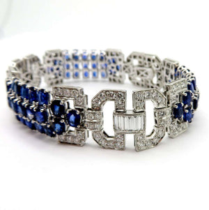 SOLD - 22.22ctw Oval Cut Sapphire and Diamond Bracelet