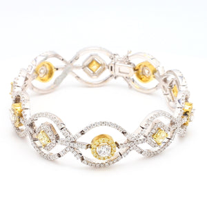 6.46ctw Fancy Yellow, Round Brilliant and Radiant Cut Diamond Bracelet
