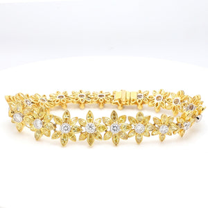 SOLD - 8.67ctw Fancy Yellow, Marquise Cut Diamond Bracelet