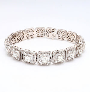 SOLD - 18.75ctw Emerald, Baguette, and Round Brilliant Cut Diamond Bracelet