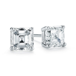 SOLD - 2.07ctw G SI1 Asscher Cut, Diamond Stud Earrings - GIA Certified