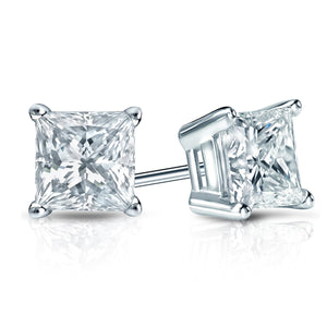 0.71ctw H/I SI1/SI2 Princess Cut, Diamond Stud Earrings - IGI Certified