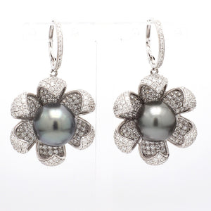 5.58ctw Round Brilliant Cut Diamond and Tahitian Pearl Earrings