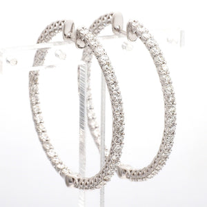 3.33ctw Round Brilliant Cut Diamond Hoop Earrings