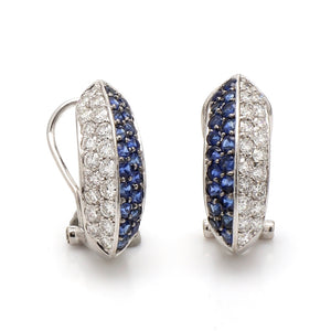SOLD - 1.75ctw Round Brilliant Cut Diamond and Sapphire Earrings