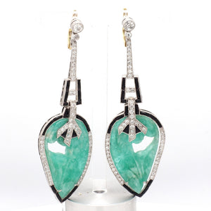 1.55ctw Old European Cut Diamond and Carved Emerald Earrings