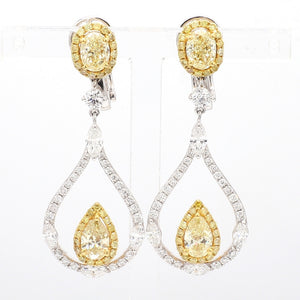 2.37ctw Fancy Yellow, Oval and Pear Shaped Diamond Earrings