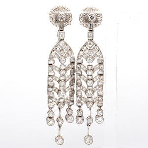 SOLD - 4.24ctw Old European and Baguette Cut Diamond Earrings