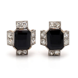 Onyx and Old European Cut Diamond Earrings