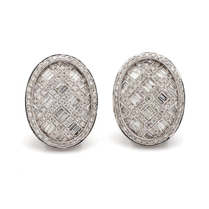 3.00ctw Baguette and Round Brilliant Cut Diamond Earrings