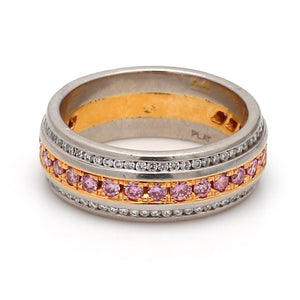 0.87ctw Fancy Pink, Round Brilliant Cut Diamond Band