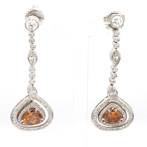 1.92ctw Fancy Brown-Orange Diamond Earrings - GIA Certified