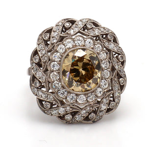 SOLD - 2.75ct Fancy Brown, Old European Cut Diamond Ring