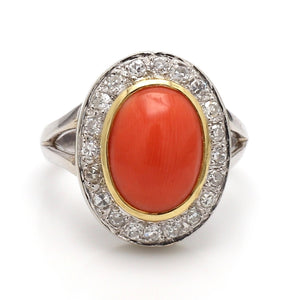 Oval Cut Coral and Diamond Ring