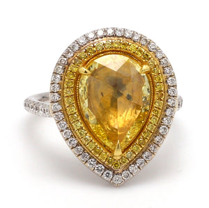 SOLD - 1.82ct Fancy Yellow, Pear Brilliant Cut Diamond Ring