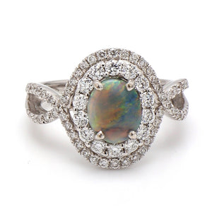 0.60ct Oval Cut, Black Opal Ring