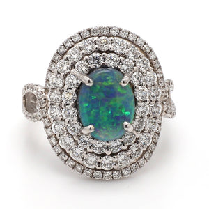 1.66ct Oval Cut, Black Opal Ring
