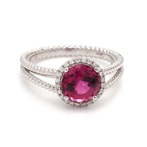 1.73ct Round Brilliant Cut Rubellite Tourmaline Ring