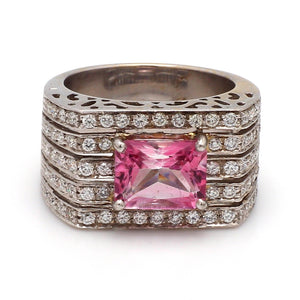 2.96ct Emerald Cut, Pink Tourmaline Ring