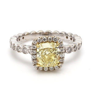 1.60ct Fancy Yellow Cushion Cut Diamond Ring - GIA Certified