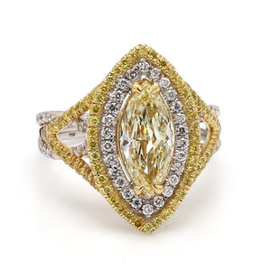 1.42ct Fancy Light Yellow, Marquise Cut Diamond Ring - GIA Certified