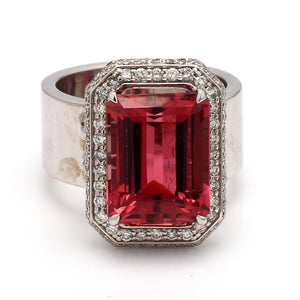 7.62ct Emerald Cut, Pink Tourmaline Ring