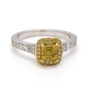 1.25ct Square Cut, Yellow Tourmaline Ring