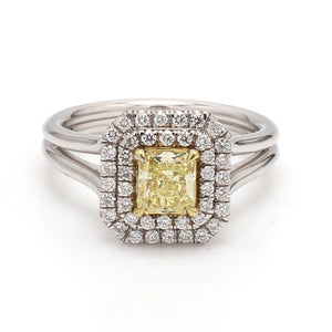 0.73ct Fancy Yellow Radiant Cut Diamond Ring - GIA Certified