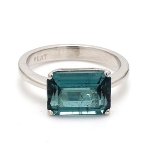 5.10ct Emerald Cut, Indicolite Tourmaline Ring