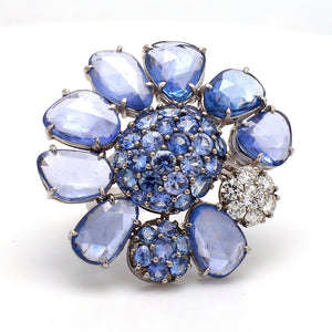 15.93ctw Fancy Cut and Round Brilliant Sapphire Ring