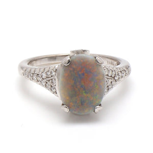 1.35ct Oval Cut, Black Opal Ring