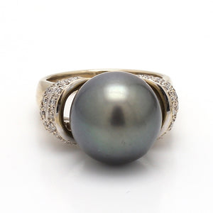 12mm Black Pearl Ring