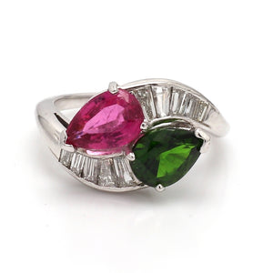 3.00ctw Pear Shaped, Pink and Green Tourmaline Ring