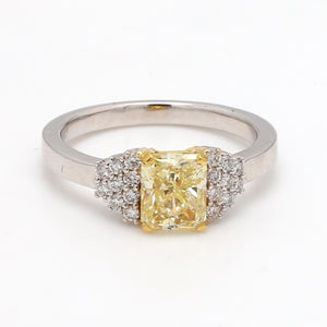 1.44ct Fancy Yellow, Radiant Cut Diamond Ring