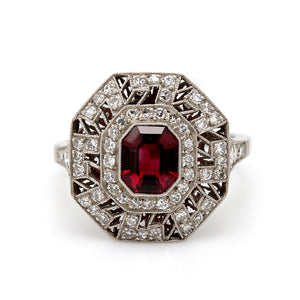 SOLD - 1.26ct Emerald Cut, African Ruby Ring - GIA Certified