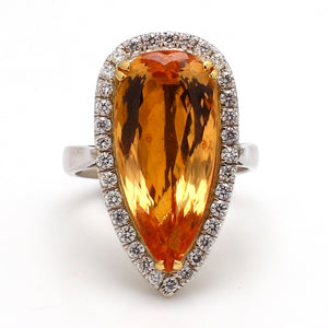 11.71ct Pear Shaped, Imperial Topaz Ring