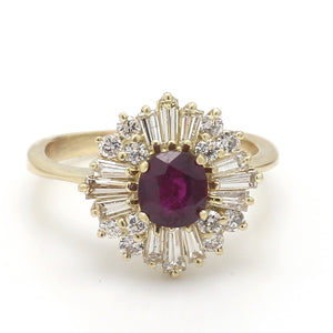 1.00ct Round Brilliant Cut Ruby and Diamond Ring