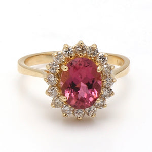 1.87ct Oval Cut, Rubellite Tourmaline Ring